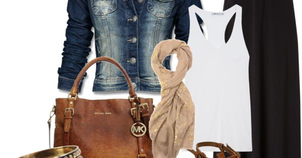 Black maxi skirt with jean jacket, cognac accessories. I will definitely rock