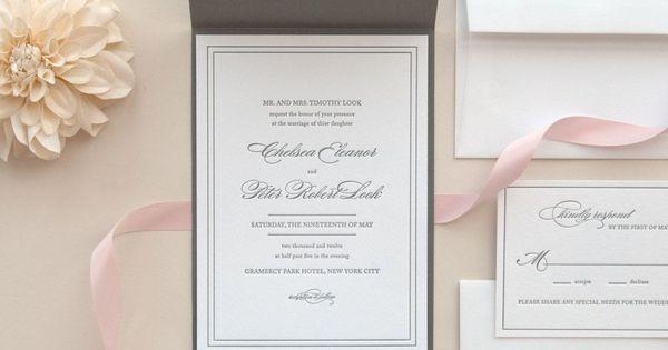Classic Gray Letterpress Wedding Invitation with Pocketfolds Enclosure
