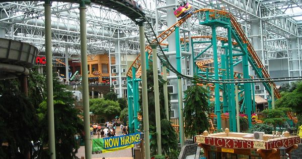 Roller coasters in the 7 acre indoor park at the Mall of