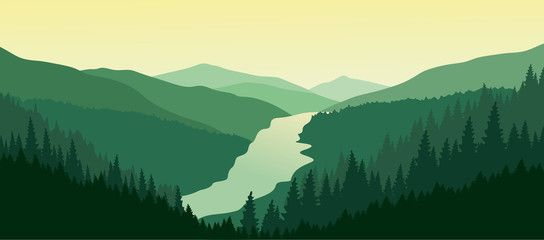 Green Mountain Landscape With The River In The Valley Mountain Landscape Landscape Mountain Illustration