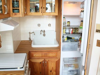 This 40 square foot kitchen includes storage prep space