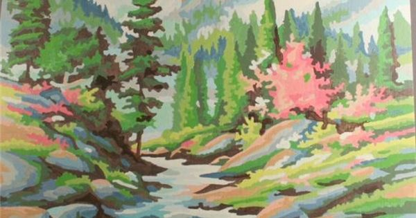 Vintage Paint By Number Completed Majestic Mountain
