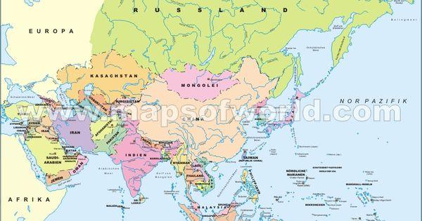 Politische Landkarte Asiens Asien Karte Australien Karte