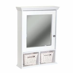 Zenith 21 In X 29 In Wood Surface Mount Medicine Cabinet With Baskets In White With Beveled Mirror Th22ww Wood Medicine Cabinets White Medicine Cabinet Wall