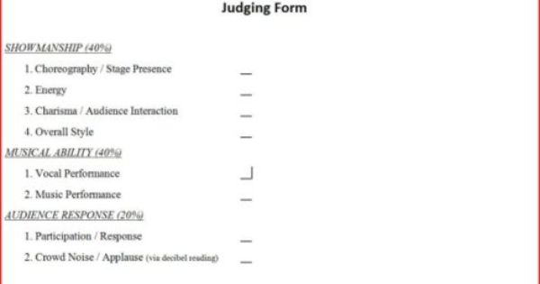 Judge Audition Sheets – Talent Show Score Sheet