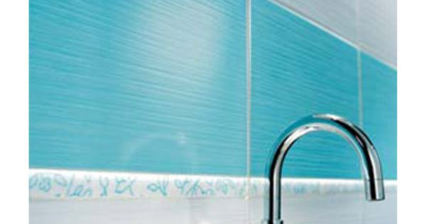 Carrelage mural rigato bianco turquoise 25 x 40 cm for Faience salle de bain turquoise