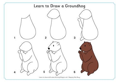 learn to draw a groundhog forest animals pinterest learning