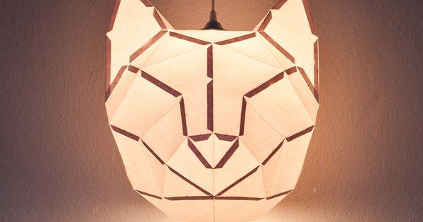 Lampe en papier tête d'animal. - Lamp paper animal head.