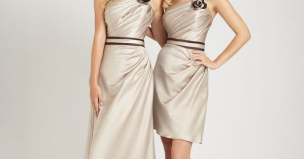 one shoulder bridesmaid gowns--this color is simple and so pretty! First bridesmaid