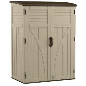 Suncast 2 Ft 8 In X 4 Ft 5 In X 6 Ft Large Vertical Storage Shed Bms5700 The Home Depot Resin Storage Outdoor Storage Sheds Outdoor Storage Cabinet