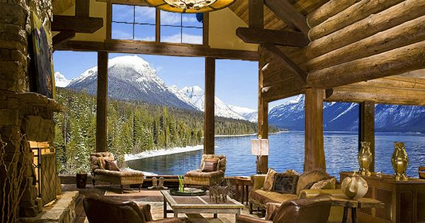 The perfect vacation log home, on a lake and in the mountains!