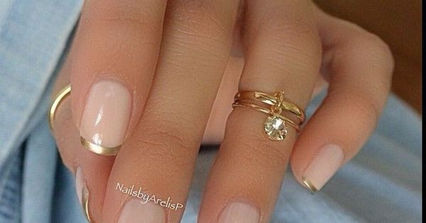 Pink and Gold French Manicure Design Discover and share your nail design ideas on www.popmiss.com/...