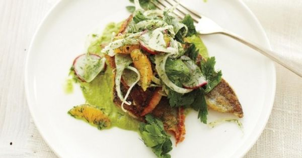 ' Sauteed Georgia Trout with Watercress Puree and Mandarin Salad ...