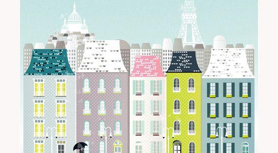 Paris France European Cityscape Art Print Poster A4 by lauraamiss