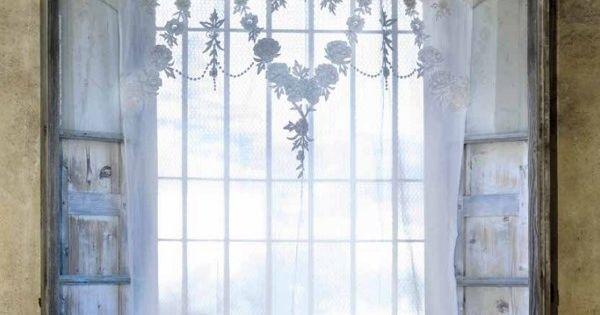 Rideau brod fleurs blanc mariclo brises bise stores rideaux pinterest rideaux - Rideau campagnard ...