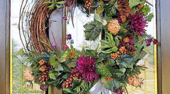 Fall d cor wreath silk flower arrangement wall door for Fall fake flower arrangement ideas