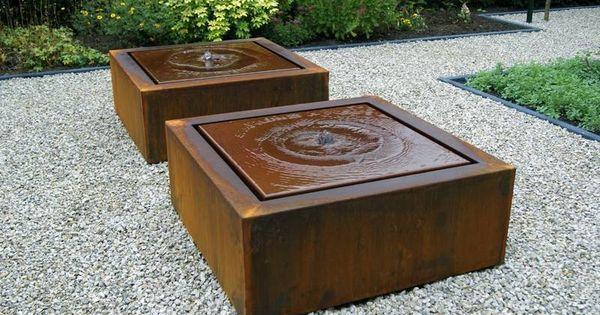 Corten staal fontein vierkant icl led pomp for Vierkant zwembad met pomp