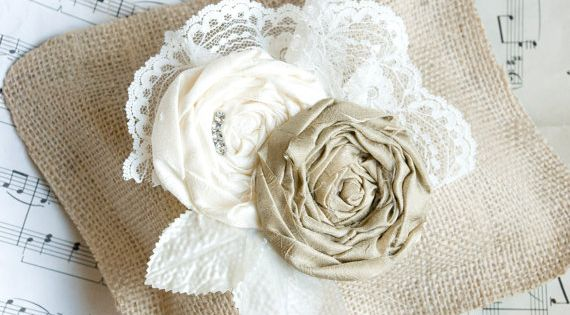 Rustic Burlap Wedding Ring Pillow