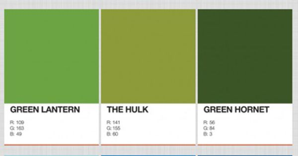 Pantone Colors of Your Favorite Superheroes! Color & comic book nerds rejoice!