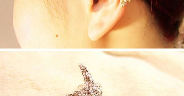 Cute Shiny Rhinestone Starfish Ear Clips for only $9.90 ,cheap Earrings Studs