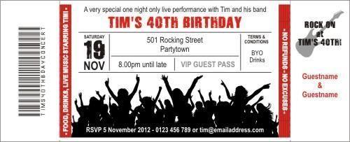rock concert red invitation ticket