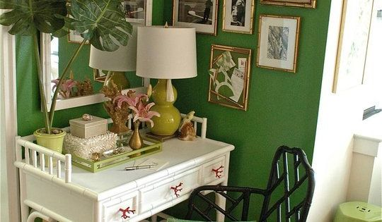 Kelly green office space with a tropical vibe..