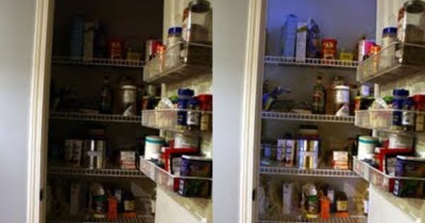 Pantry, Lighting solutions and Small closets on Pinterest