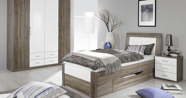Schlafzimmer Mit Bett 100 X 200 Cm Eiche Havanna/ Weiss Hochglanz ...