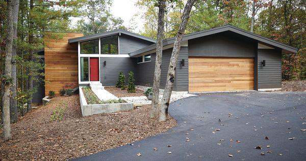 Exterior ranch home colors - Mid Century Modern Gray Exterior Dark Trim White Trim