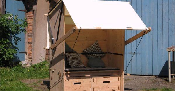 Strandkorb Mit Sonnensegel Vom Hersteller Werkhaus Video Strandkorb Sitzgelegenheiten Korb