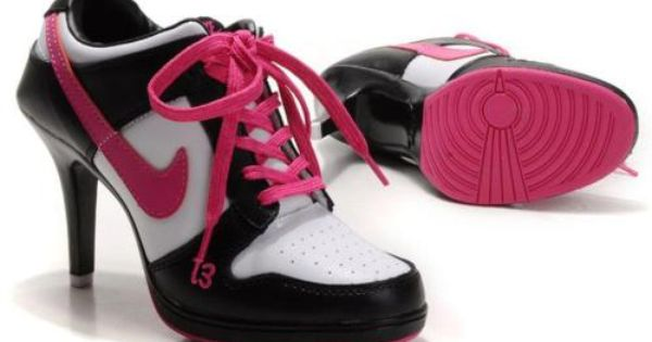 Pink and black nikes with a heel #pink #nike #nikes | See more about Black Nikes, Nike and Heels.