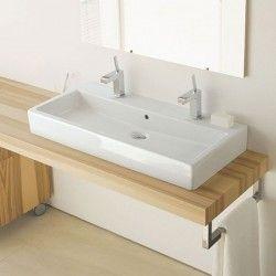Vero Vasque A Poser 100 Cm Avec 2 Trous De Robinets Avec Images Agencement Salle De Bain Vasque A Poser Idees Salle De Bain
