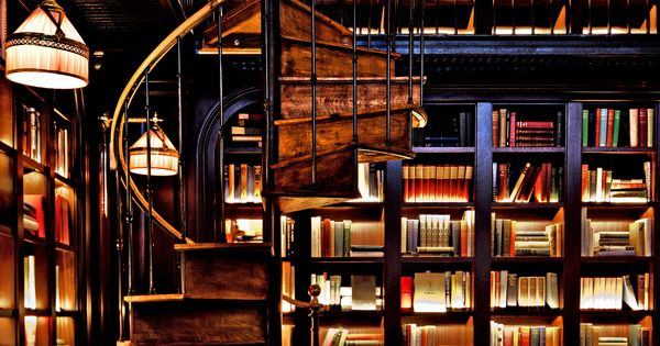 My dream Library. Library, spiral staircase, backlit bookcases.