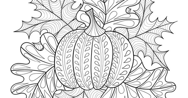 Halloween Coloring Page Pumpkin And Fall Leaves Home