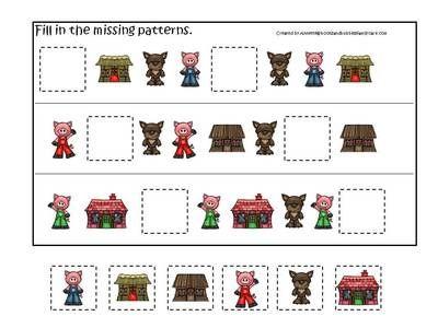 Three Little Pigs Preschool Activities 3 Part Match