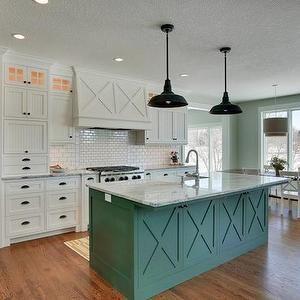 White Kitchen Cabinets With Antique Bronze Hardware Beautiful Kitchen Features White Beadbo Beadboard Kitchen Beadboard Kitchen Cabinets Green Kitchen Island