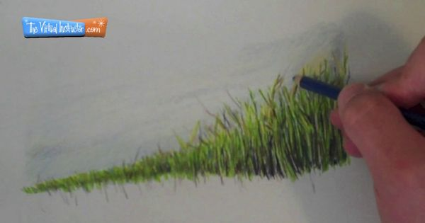 how to draw grass with pencil