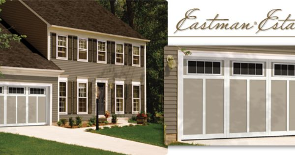 Garaga Eastman Estate Model E 12 14 X 7 Claystone Ice White Overlays Orion 4 Lite Windows Garage Doors Country Farmhouse Style Doors