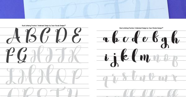 Free brush calligraphy practice worksheets typography