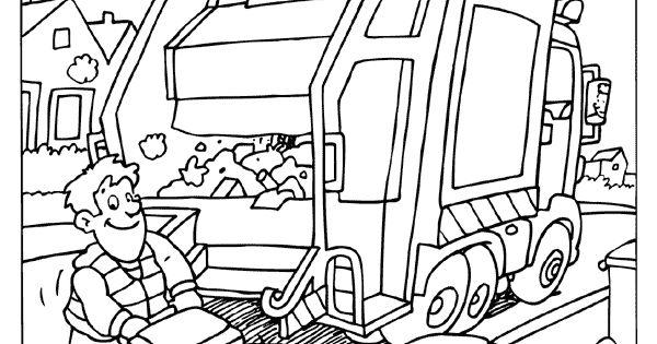 kleurplaat vuilniswagen vuilnismannen kleurplaten nl