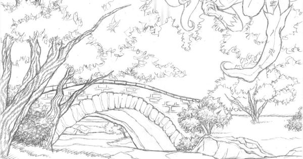scenic coloring pages | scenery with puppy colouring pages ...
