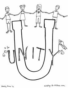 U Is For Unity Bible Alphabet Coloring Page Bible Lessons For Kids Alphabet Coloring Pages Christian Coloring