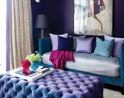 Purple room, maybe for a bedroom. it's a pretty color but too