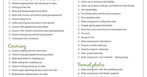 Wedding Photography Checklist Printable Wedding