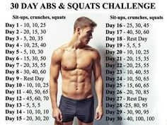 30 Day Abs Squats Challenge Healthy Fitness Body Sixpack Leg
