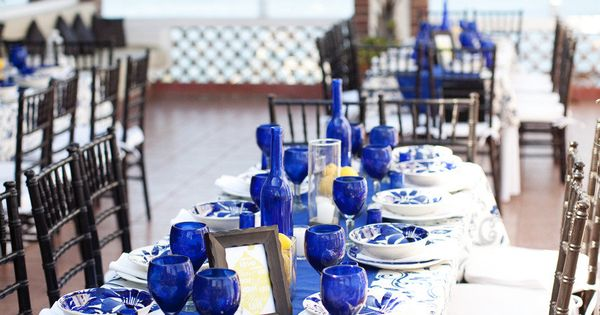 cobalt+blue+interior+design | Blue Tablescape | Cobalt Runner | Blue Glass | Color
