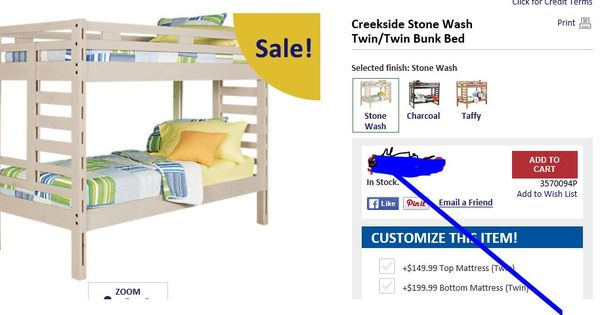 Creekside Stone Wash Twin Bunk R2g Kids Bunk Beds For Sale Twin Bunk Beds House Beds