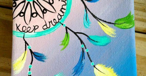 diy leinwand druck traumf nger dreamcatcher pastellfarben basteln pinterest selbermachen. Black Bedroom Furniture Sets. Home Design Ideas