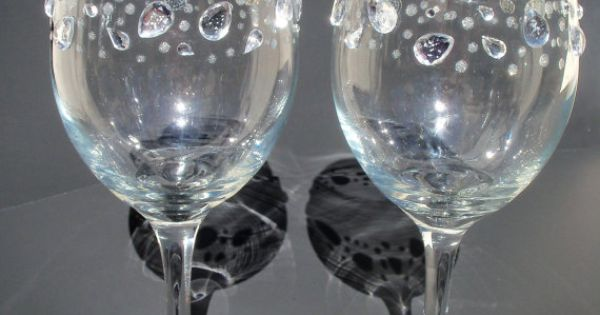 for sale on etsy rhinestone and glitter wine glasses