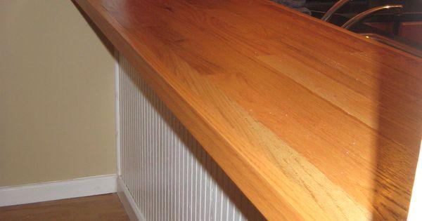 Diy Bar Top Made With Plywood Oak Hardwood Flooring Nail